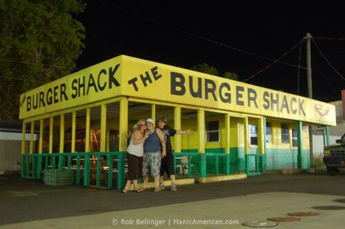 Three teenagers outside Hephzibah's Burger Shack.