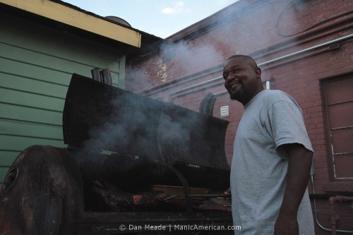 Richard Forrest at his smoker.