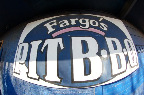 The sign of Fargo's Pit BBQ.