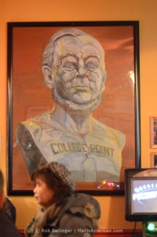 Painting of Conrad Poppenhusen wearing a College Point Jersey