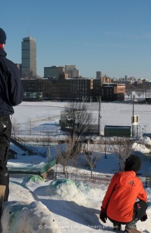 Two climbers look out at the Pru.
