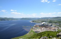 The town of Corner Brook, Newfoundland, and the Bay of Islands as seen from above.