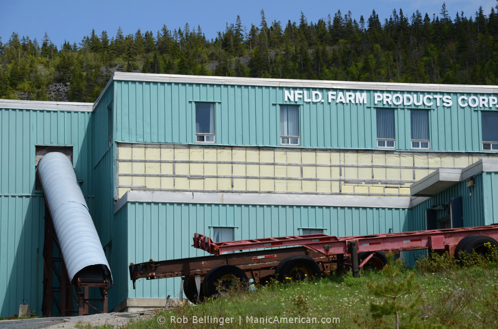 A corrugated metal factory labled NFLD FARM PRODUCTS CORP, with trailers parked out front. Corner Brook, Newfoundland.