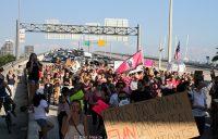 Marchers exit 395 en masse