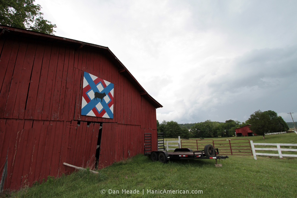 A rural Kentucky barn with a cattle hex.