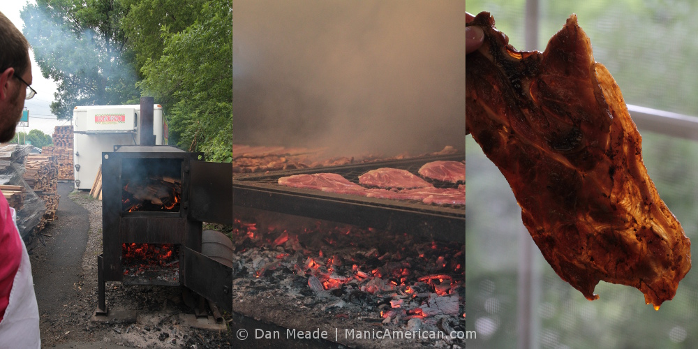 Making Kentucky barbecue: A tryptic of photos: wood being burned, pork above a bed of coals, & a slice of pork shoulder ready to eat.