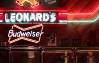 An interior version of Leonard's sign in their buffet room.