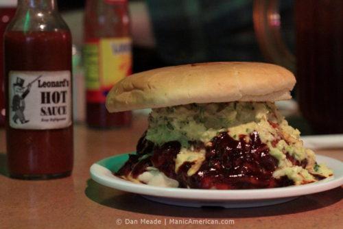 The Pork Volcano of Leonard's Pit Barbecue.