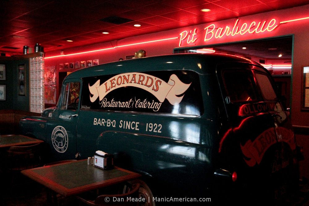 Leonard's retired delivery truck inside their front dining room.