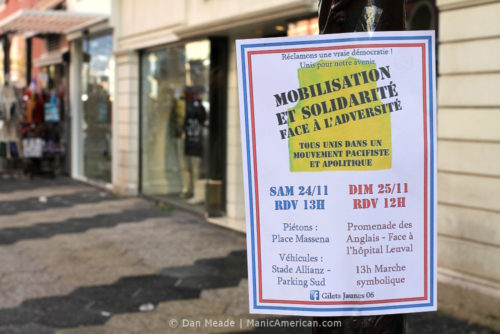 A flyer advertising upcoming weekend protests
