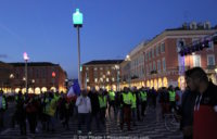 Gilets jaunes protestors re-enter Place Massena.