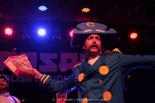 A man dressed as Cap'n Crunch at the 2012 NYC Beard and Moustache Competition.