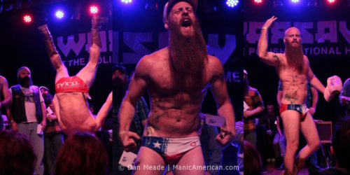 Three photos of a man in a Texas Speedo at the 2012 NYC Beard and Moustache Competition.