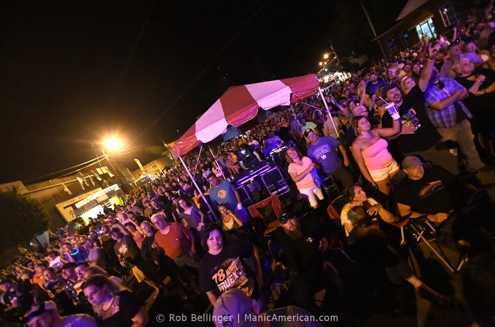 A giant crowd in the small town square of Manchester, Kentucky