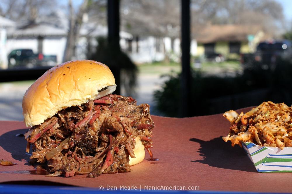 la Barbecue's chopped brisket sandwich.