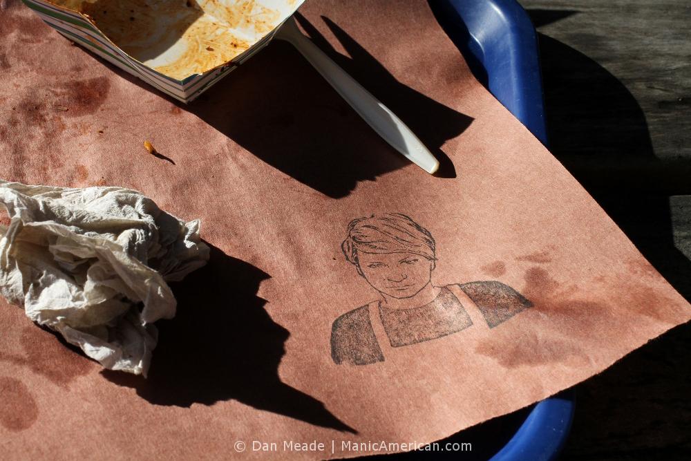 A woman's image on butcher's paper at la Barbecue.
