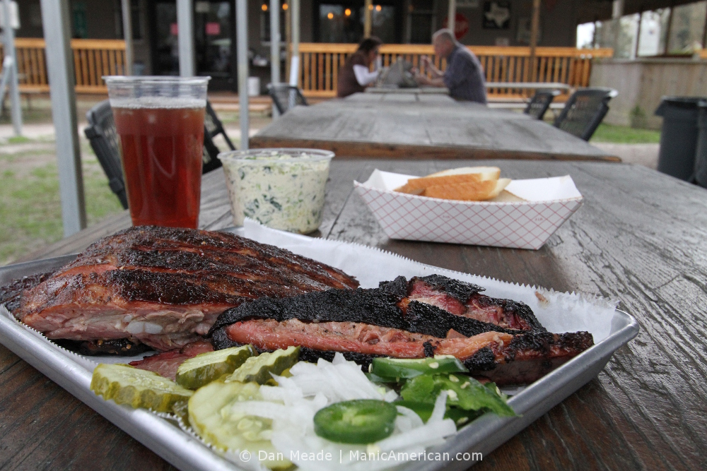 Brisket and ribs at Corkscrew BBQ.