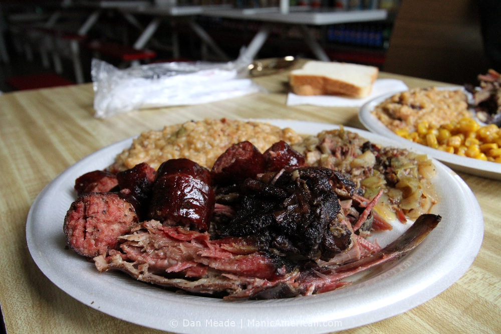 A plate of food from Davis BBQ.