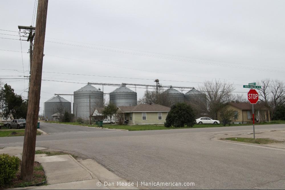 Grain silos two blocks from Davis Grocery.