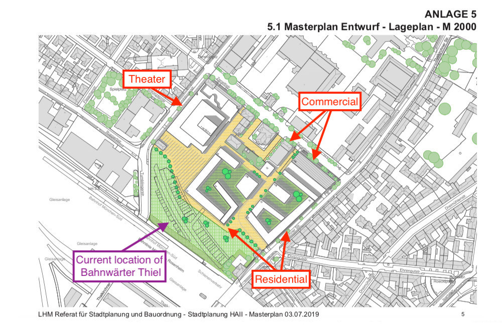 A map showing the Munich urban planning master plan for the Viehhof.