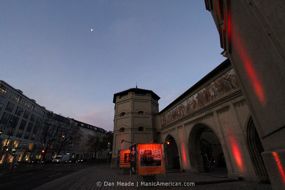 Munich's Isator gate at dawn.