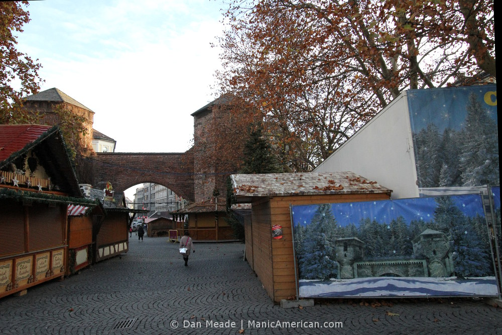 Munich's Sendlinger Tor gate with a winter-themed scrim.