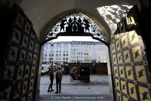 The view from a doorway of Munich's Neues Rathaus.