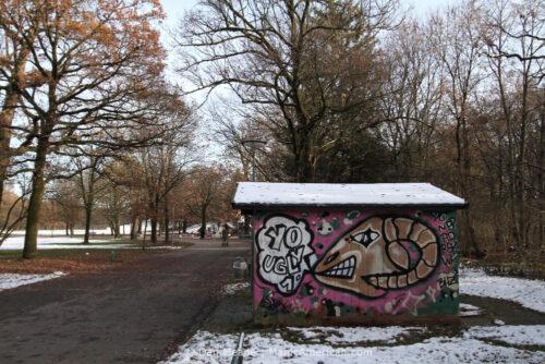 A mural of a ram's head in Munich.