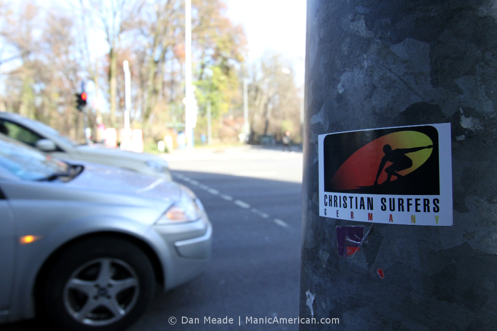 """A sticker reading, """"Christian Surfers Germany."""""""
