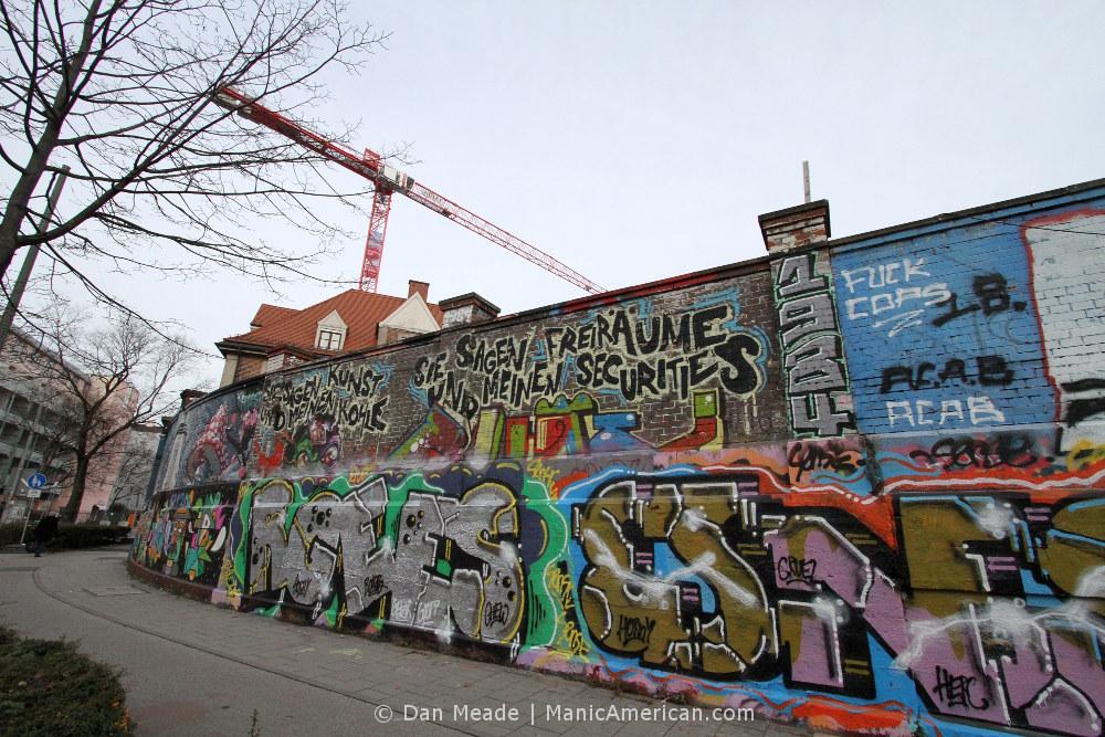 Graffiti outside Munich's Bahnwarter Thiel.
