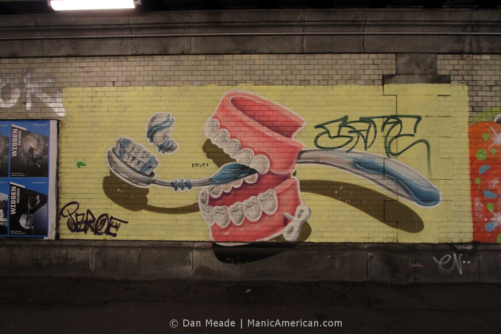 A chattering teeth and toothbrush mural.