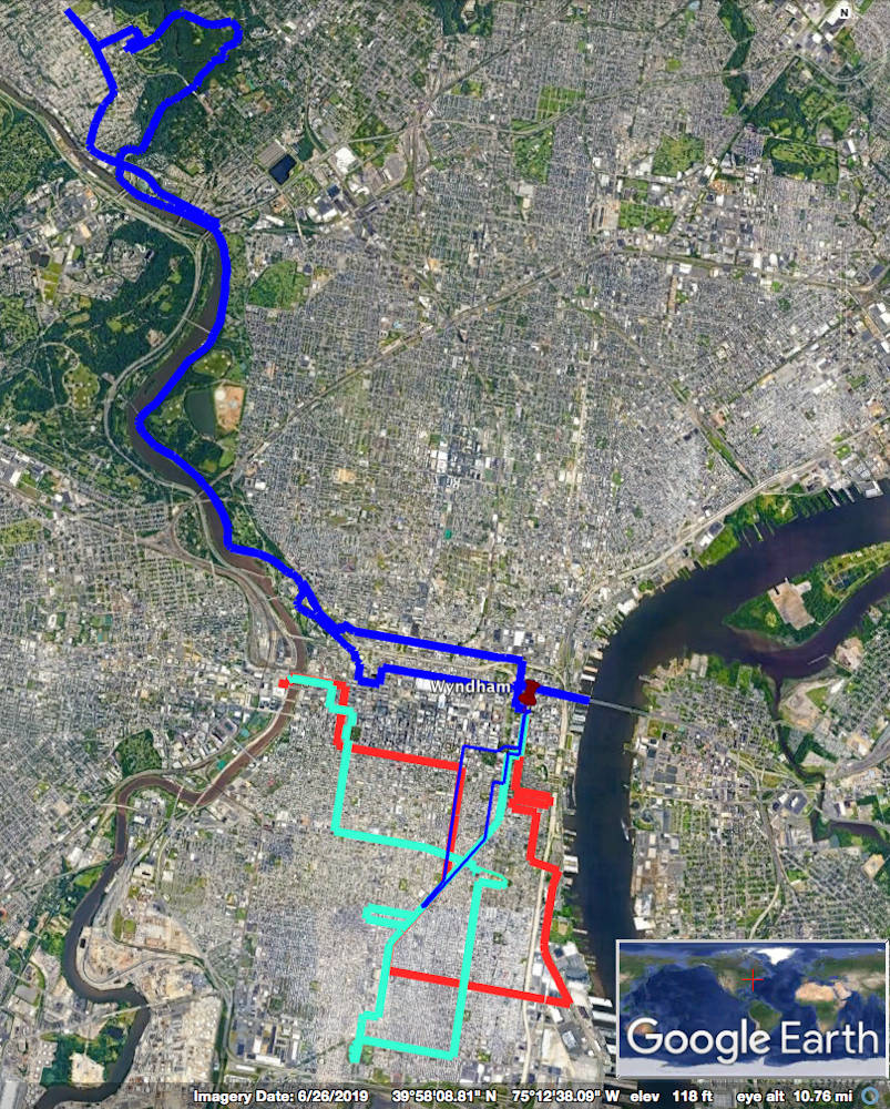 a satellite map of Philadelphia showing three different routes the author biked during a Philadelphia Sandwich Tour