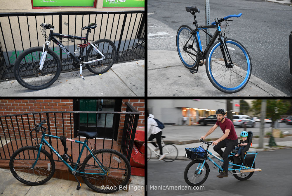 a composite image of four different bicycles