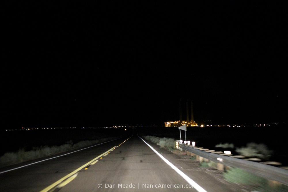 Approaching the Navajo Generating Station at night.