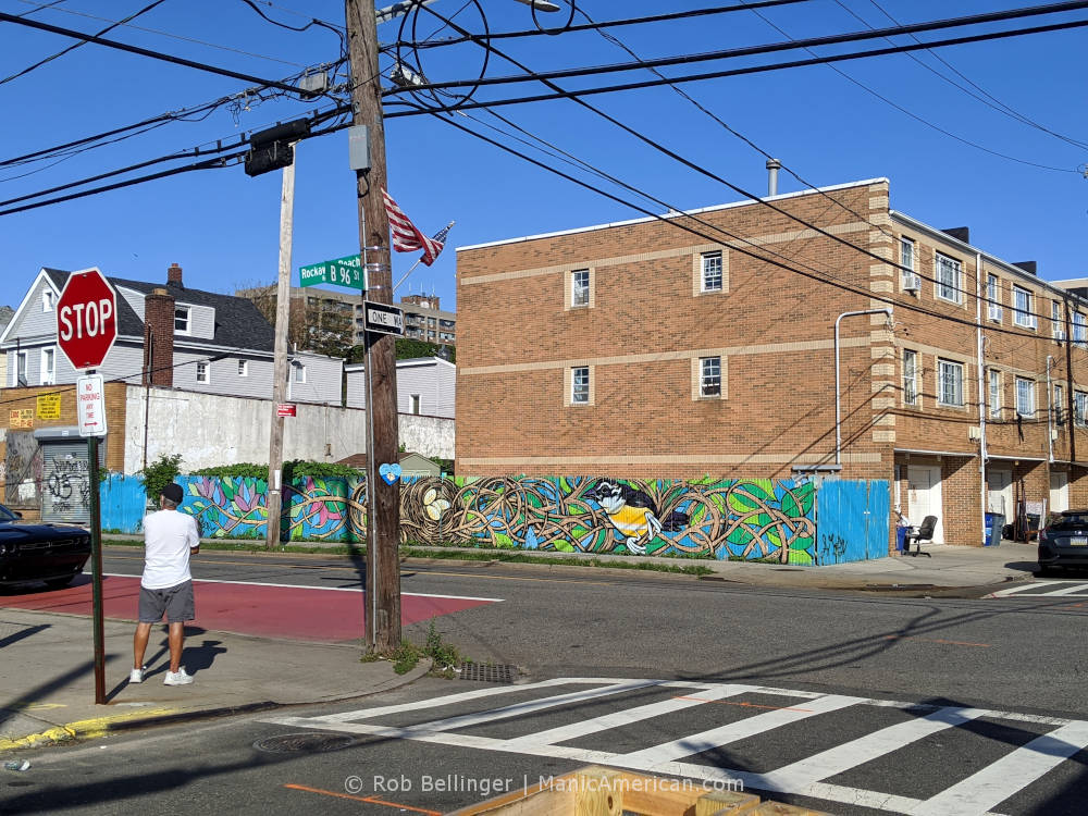 a colorful mural depicting a tropical bird's nest is painted on the wooden fence of an apartment building on rockaway beach boulevard