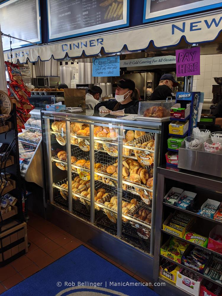 ordering counter at a bagel restaurant, boardwalk bagel in rockaway beach