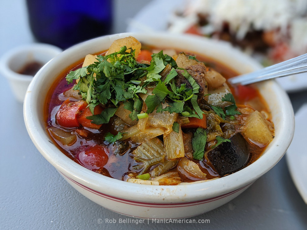 a bow of lagman, a soup made with hand-pulled noodles, beef, and vegetables, at Uma's in Rockaway Beach