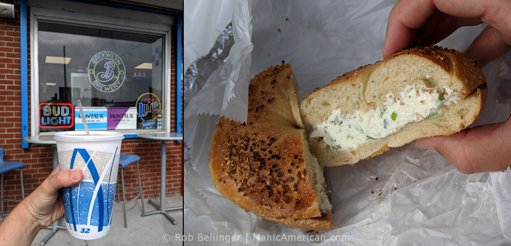 a composite photo: left panel shows a hand holding a large styrofoam cup of iced coffee; right panel shows a bagel with scallion cream cheese at boardwalk bagel in rockaway beach
