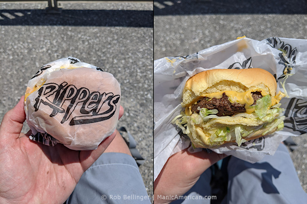 a composite photo showing a wrapped hamburger with the rippers logo, then the unwrapped hamburger, on the rockaway beach boardwalk