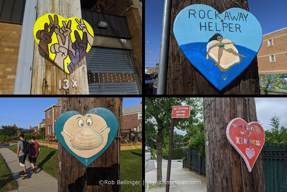 "four heart-shaped ""rockaway beach helper"" paintings on four telephone poles"